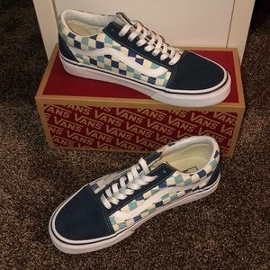 Vans old school blue topaz checkerboard